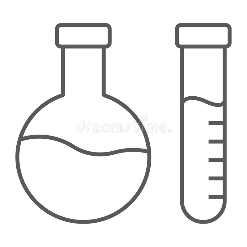 Chemical analysis thin line icon, laboratory and flask, tube test sign, vector graphics, a linear pattern on a white royalty free illustration