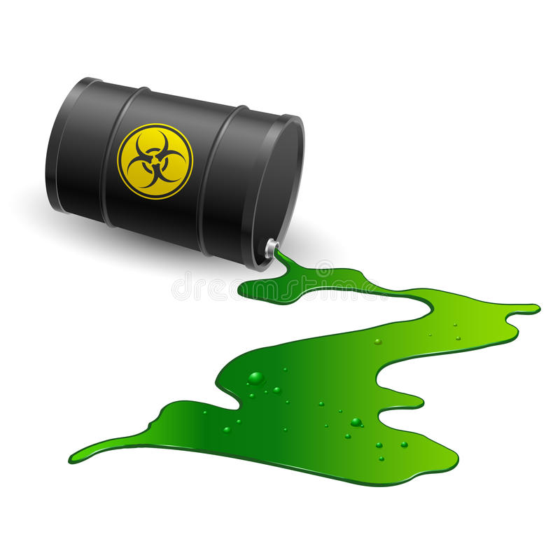 Chemical barrel. Spilled chemical barrel. Illustration on white background royalty free illustration