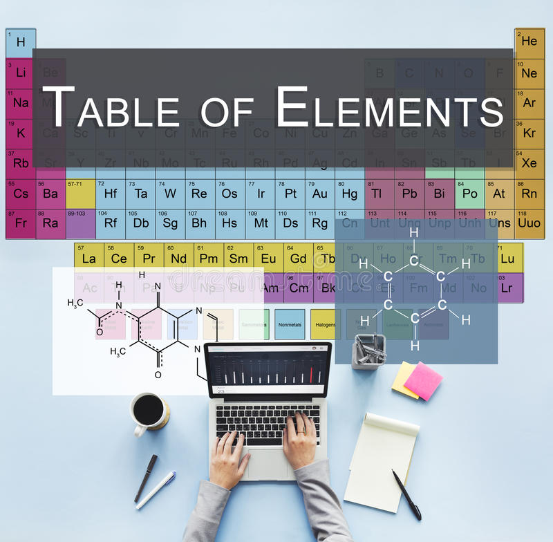 Chemical Bonding Experiment Research Science Table of Elements C royalty free stock photos