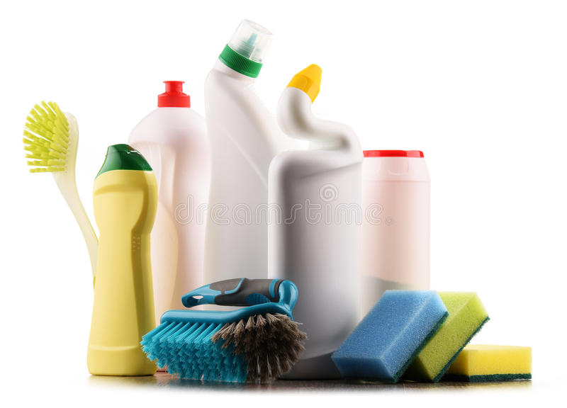 Chemical cleaning supplies on white.  royalty free stock images