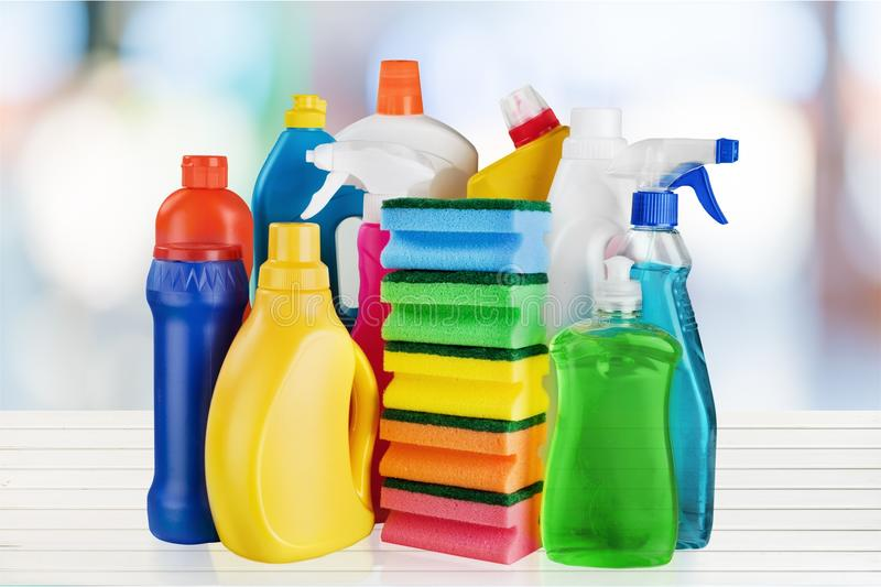 Chemical cleaning supplies on white background. Cleaning supplies white background object design pack package stock image