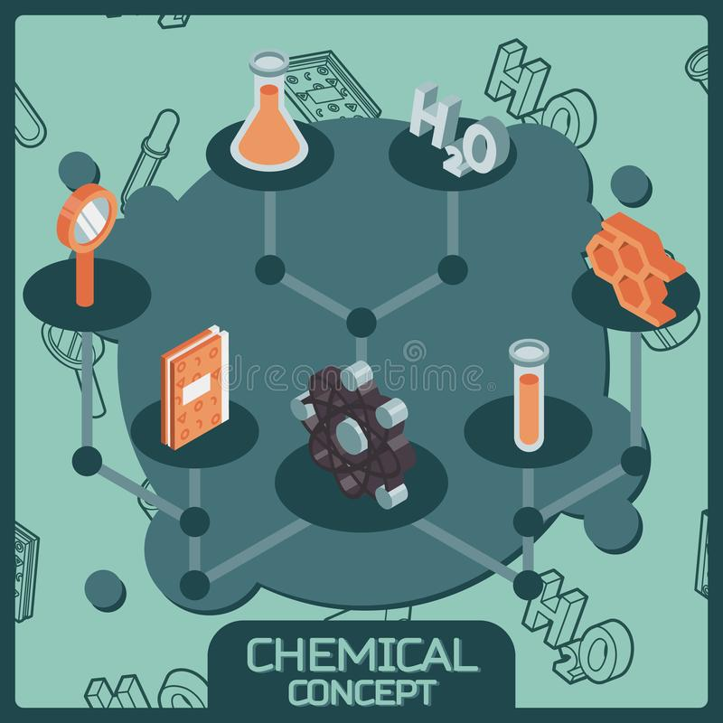 Chemical color isometric concept icons royalty free illustration