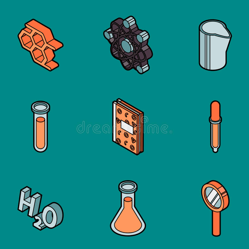 Chemical color outline isometric icons stock illustration
