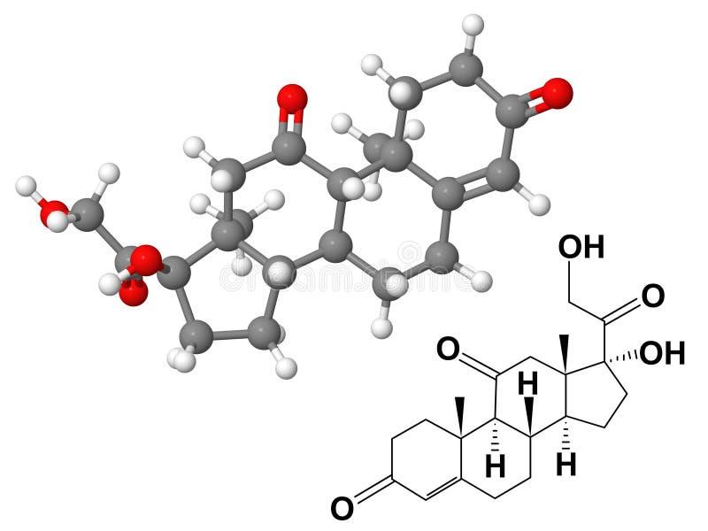 chemical cortisoneformelmolekyl vektor illustrationer