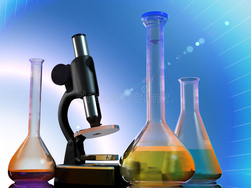 Chemical devices. On a mirror surface stock illustration