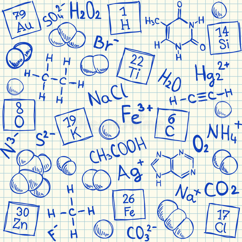 Download Chemical Doodles On School Squared Paper Stock Photo - Image: 30554040