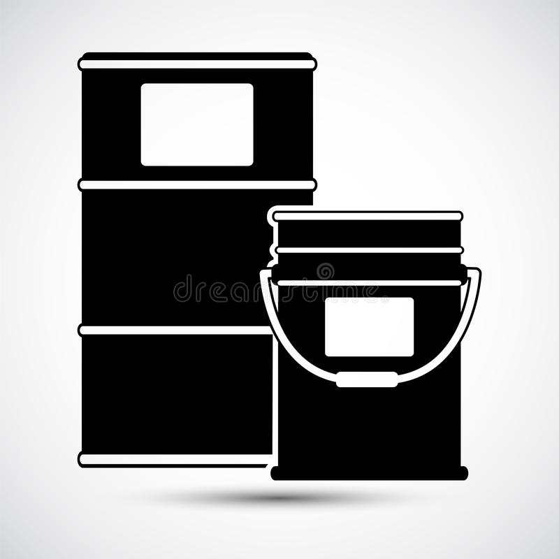 Chemical Drums Black Icon White Background stock illustration