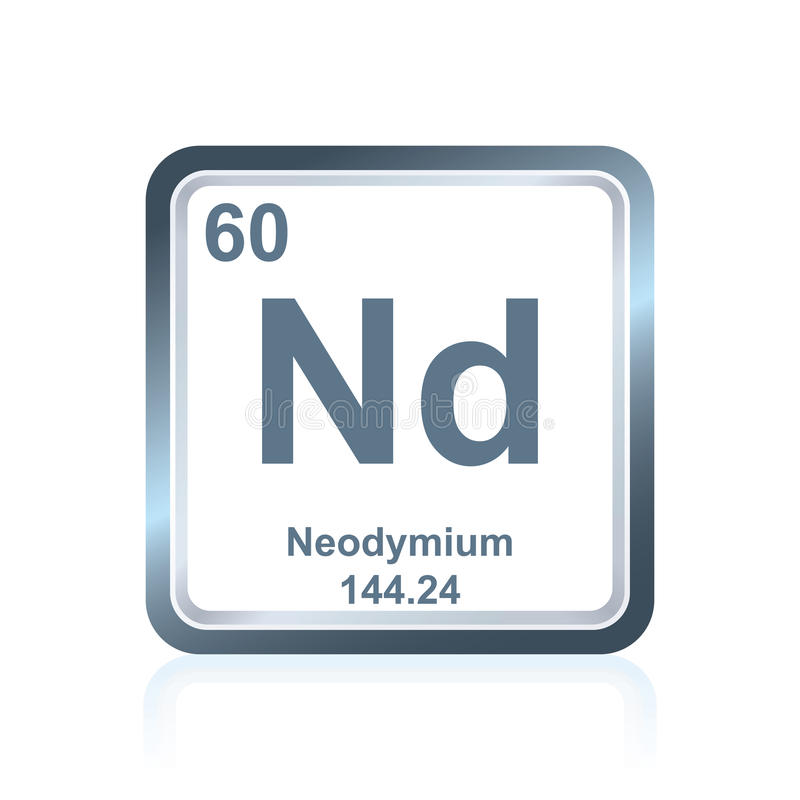Chemical Element Neodymium From The Periodic Table Stock