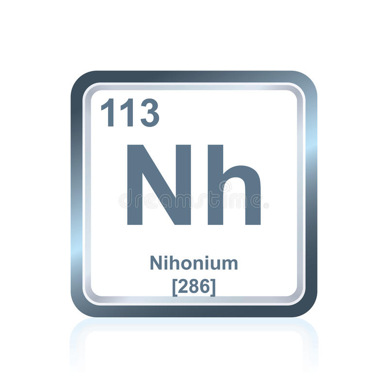 Chemical element nihonium from the Periodic Table stock illustration