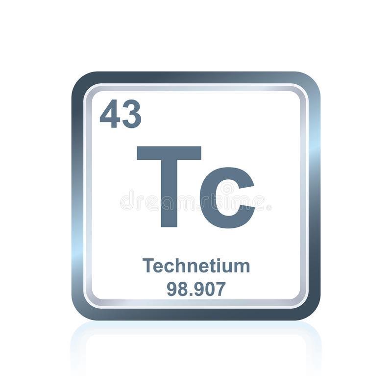 Chemical element technetium from the Periodic Table royalty free illustration