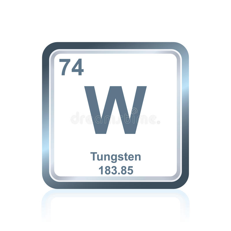 Chemical element tungsten from the periodic table stock - Tungsten symbol periodic table ...
