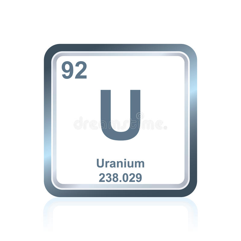 Chemical element uranium from the Periodic Table stock illustration