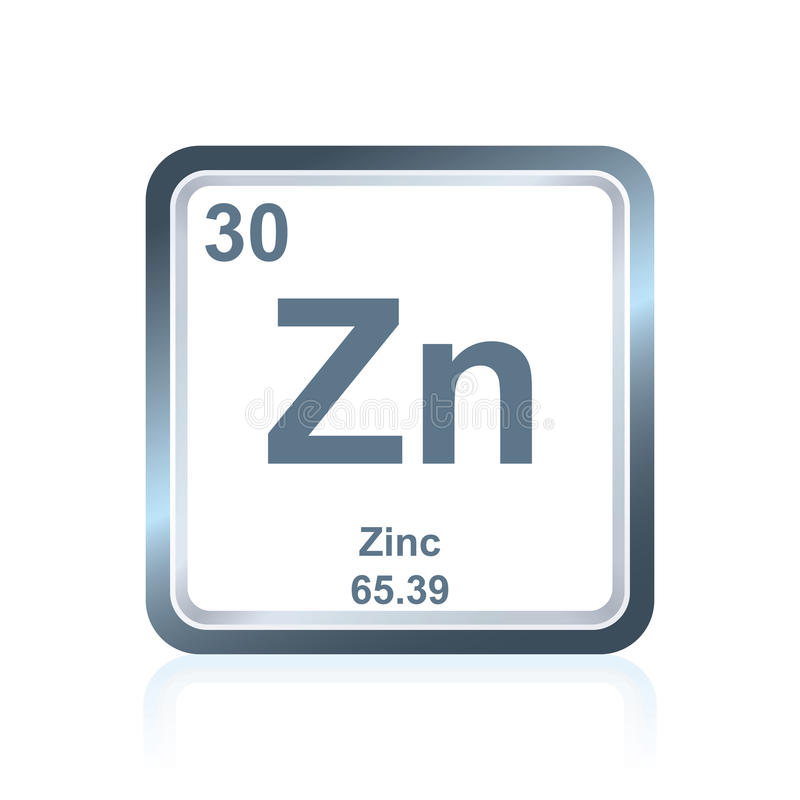 Chemical element zinc from the Periodic Table royalty free illustration