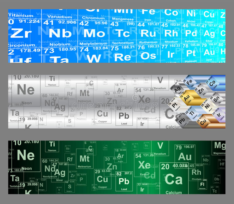 Chemical Elements Web Banners vector illustration