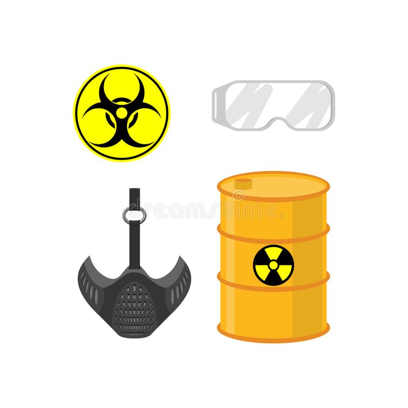 Chemical emissions set. Sign of biological waste. Protective gas royalty free illustration