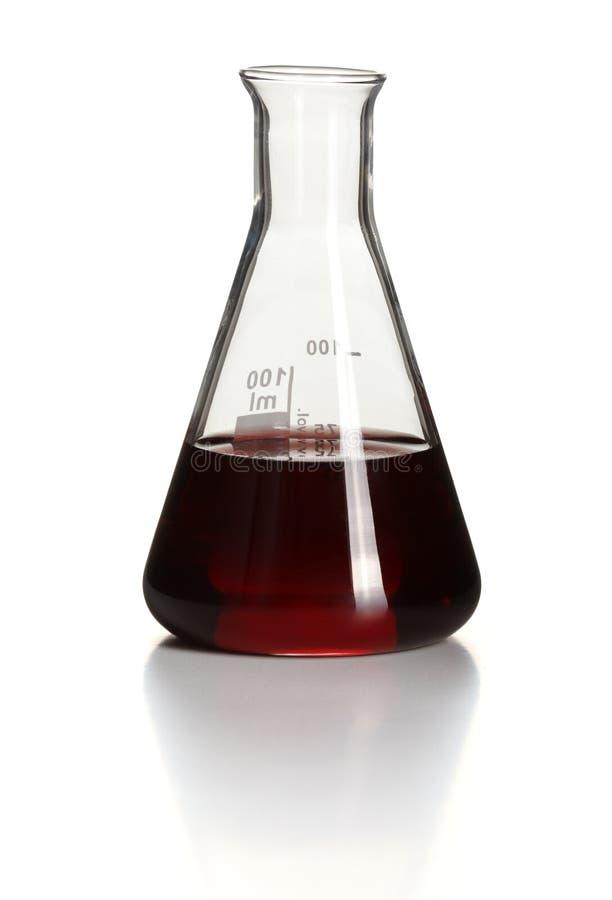 chemical erlenmeyer flaska inom red royaltyfri bild