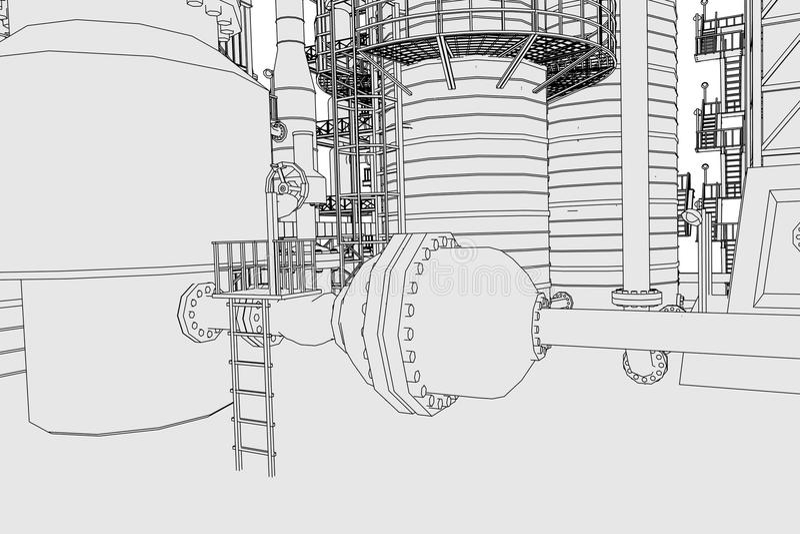 chemical fabriksolja vektor illustrationer
