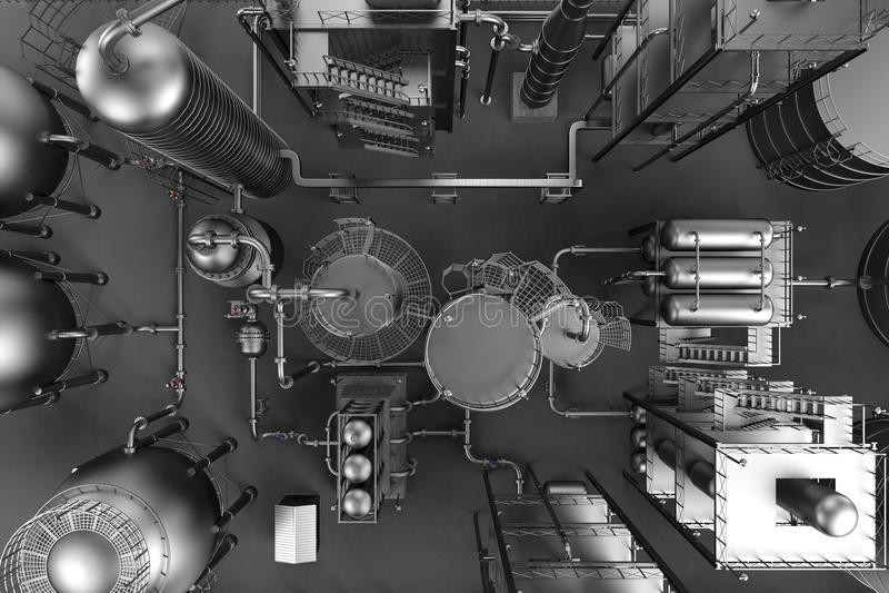 chemical fabriksolja stock illustrationer