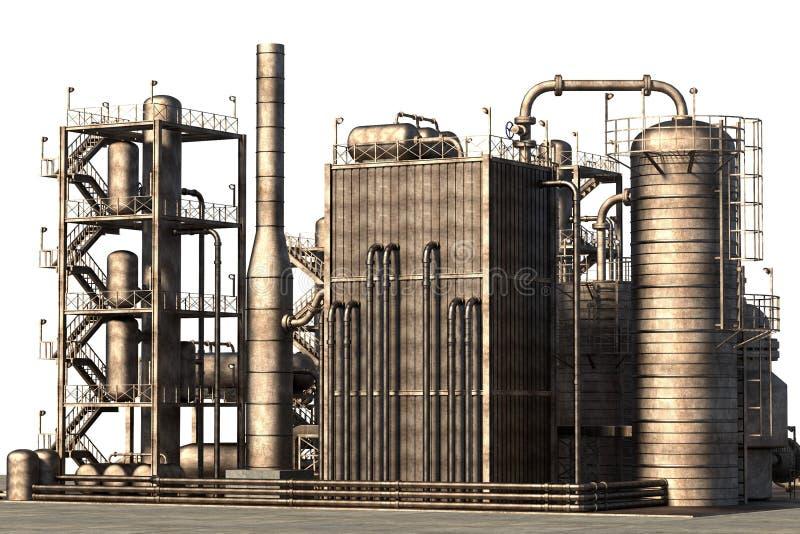 chemical fabriksolja royaltyfri illustrationer