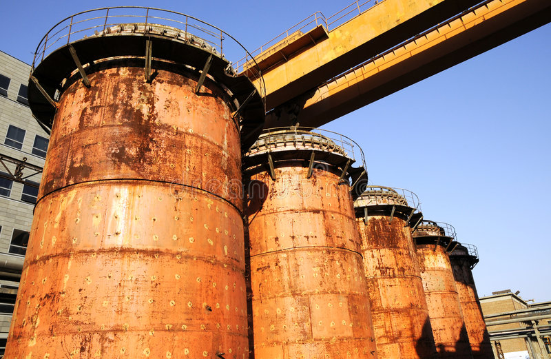 Chemical Factory With Crane And Oil Tanks Stock Photography