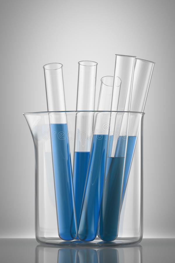 Chemical Flask With A Blue Laboratory Test Tubes Inside, Isolate Stock Photo