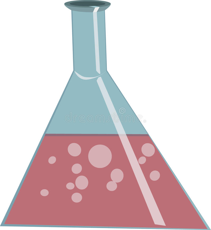 Chemical flask with reagents in vector stock photo
