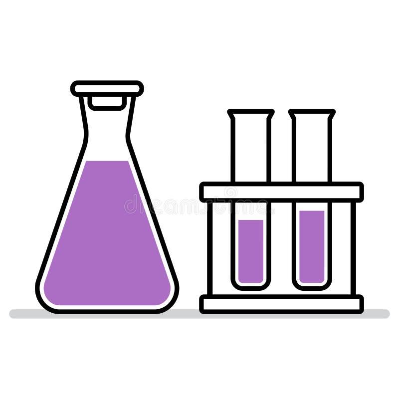 Chemical flask and test tube. Vector illustration stock illustration