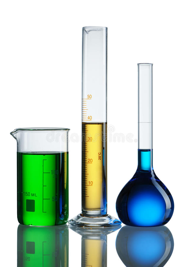 Chemical flasks royalty free stock image