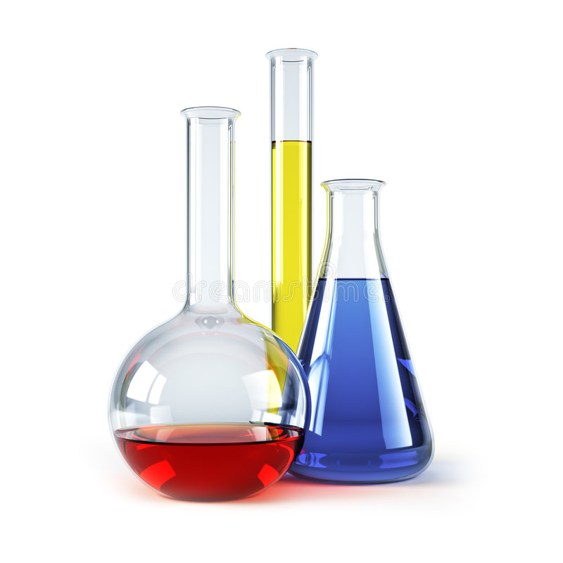 Chemical flasks with reagents. Isolated 3d rendering stock illustration