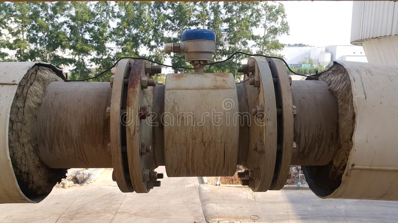 Chemical flow rate meter in pulp and paper industry. Industial background stock photo