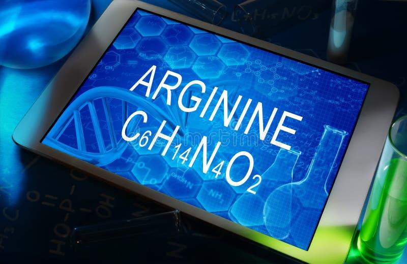 The chemical formula of arginine stock images