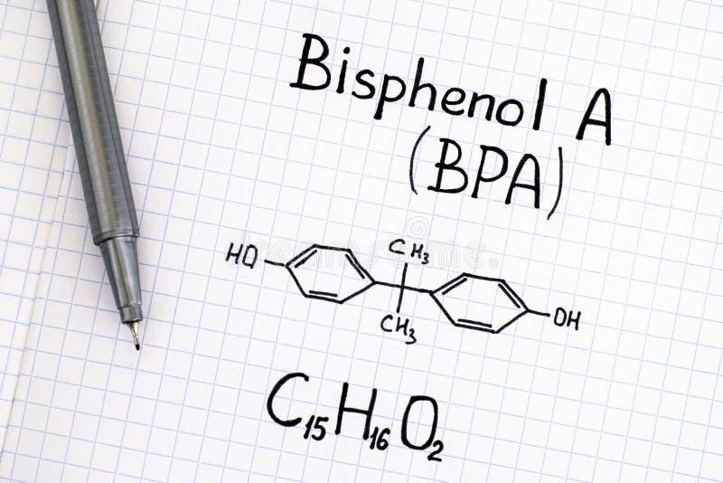 Chemical formula of Bisphenol A BPA with pen. Close-up stock photos