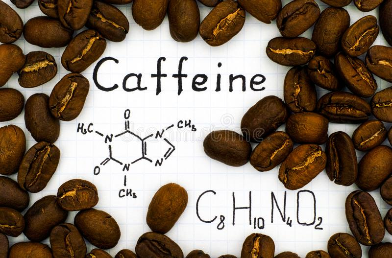 Chemical formula of Caffeine with coffee beans royalty free stock images