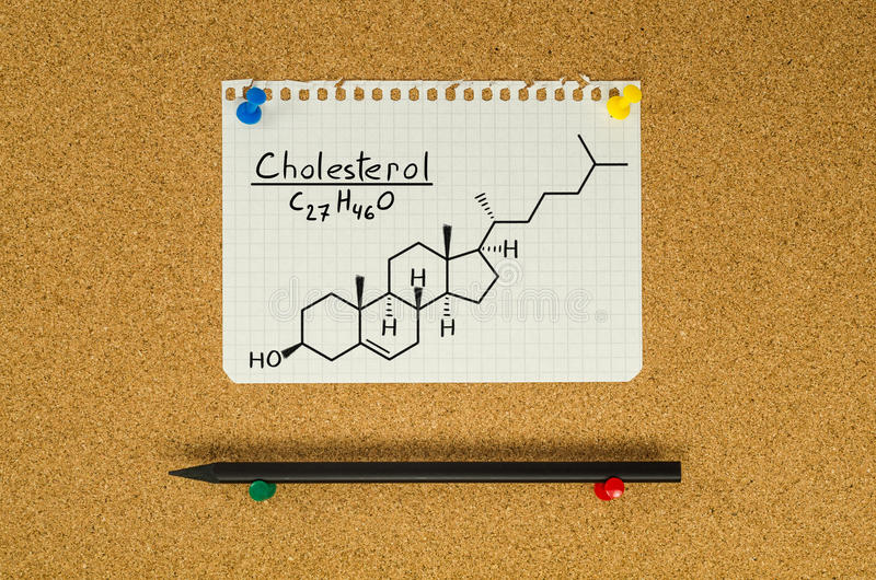 Chemical formula of Cholesterol stock photography