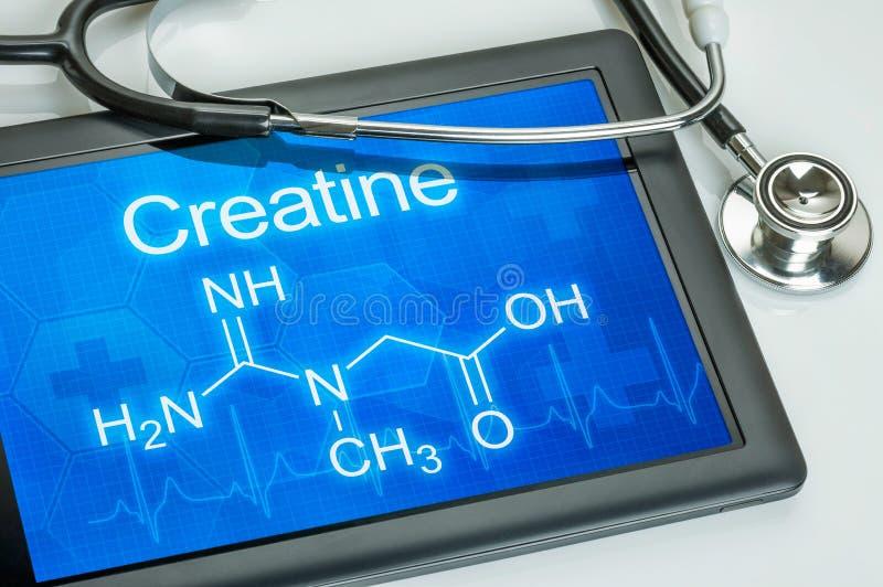 Chemical formula of Creatine stock photo