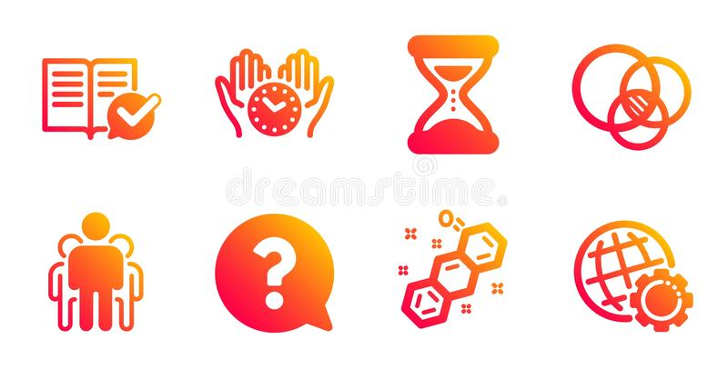Chemical formula, Group and Time icons set. Euler diagram, Approved documentation and Question mark signs. Vector. Chemical formula, Group and Time line icons vector illustration