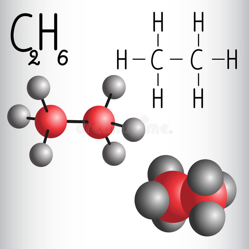 Chemical Formula And Molecule Model Of Ethane C2h6 Stock