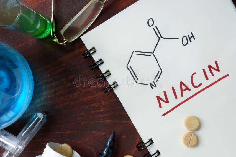 Chemical formula of Niacin (vitamin b3) stock images