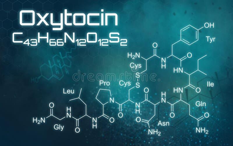 Chemical formula of Oxytocin on a futuristic background royalty free illustration
