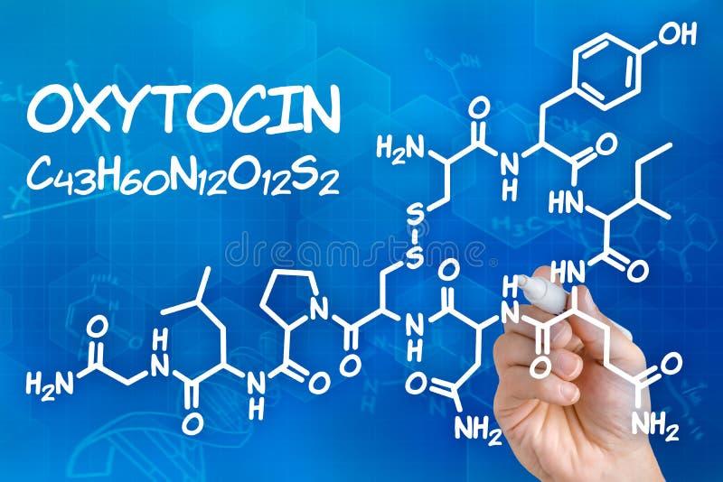 Chemical formula of Oxytocin royalty free stock image