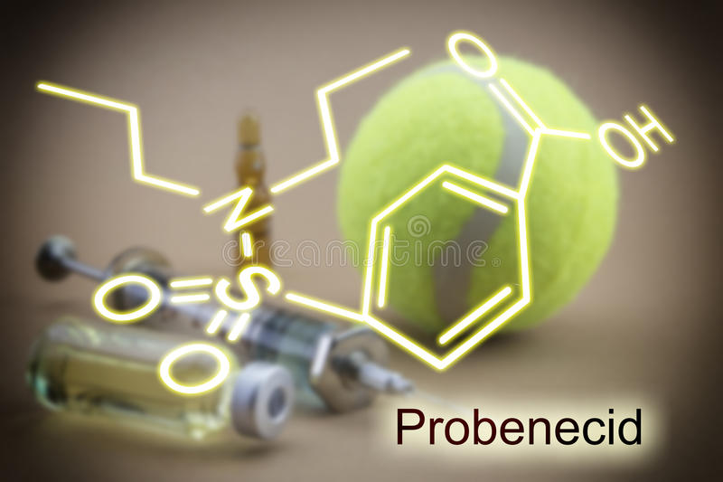 Chemical formula of probenecid, concept of doping in the sport. Tests for Research of urine along with a ball of tennis, Chemical formula of probenecid stock photography
