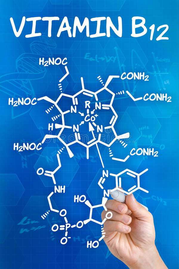 chemical formula of Vitamin B12 stock photo
