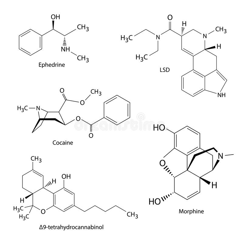Chemical formulas of illicit drugs and substances stock illustration