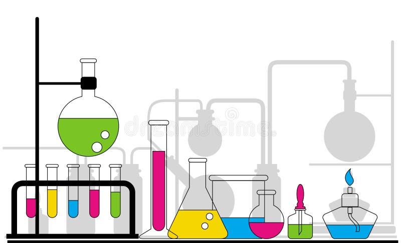 Chemical glasföremål royaltyfri illustrationer