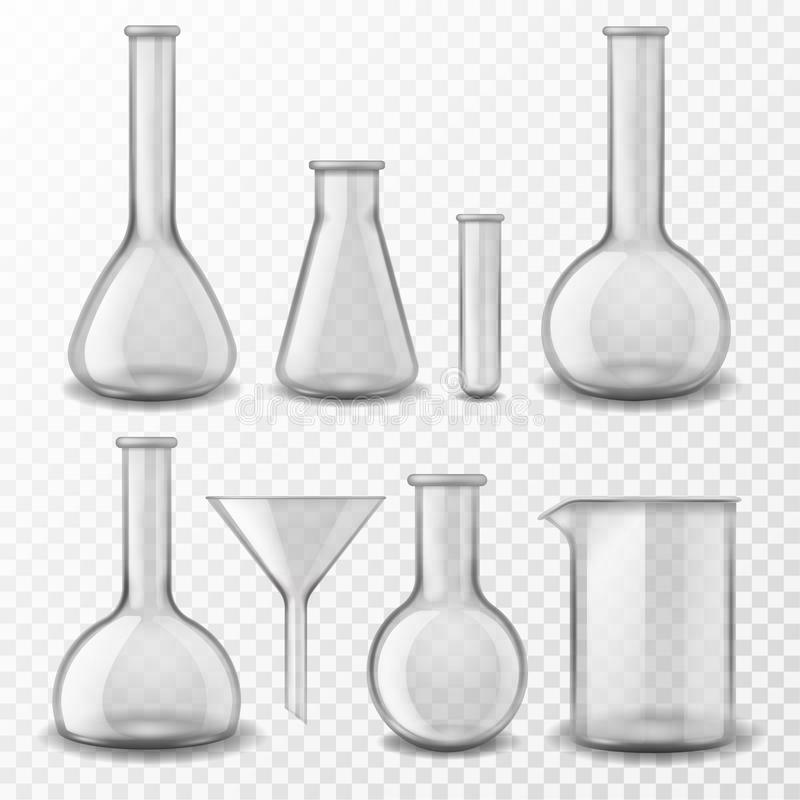 Free Chemical Glass Equipment. Laboratory Glassware Empty Test Tubes Beaker And Flask, Medical Lab Experiment Instruments 3d Stock Photos - 164878303