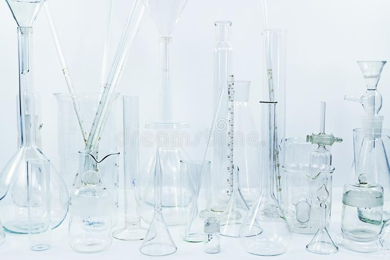 Chemical glass ware. In the lab royalty free stock image