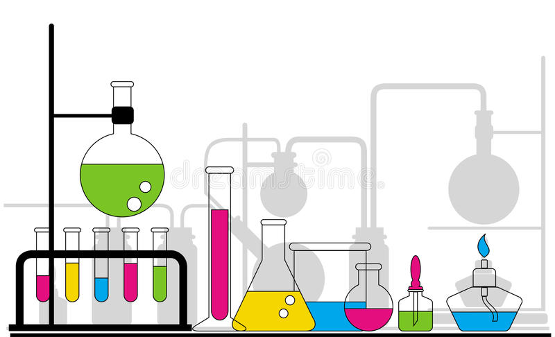 Chemical glassware. The colorful chemical glassware background royalty free illustration