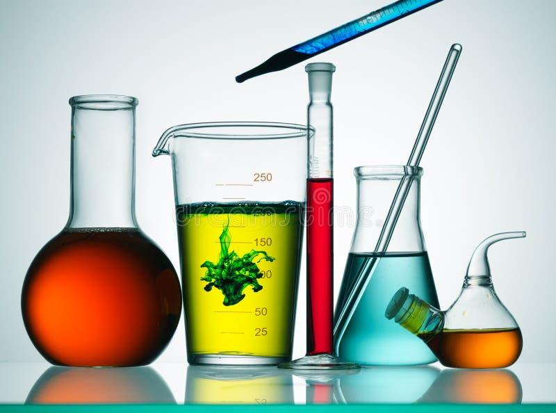 Chemical glassware stock image