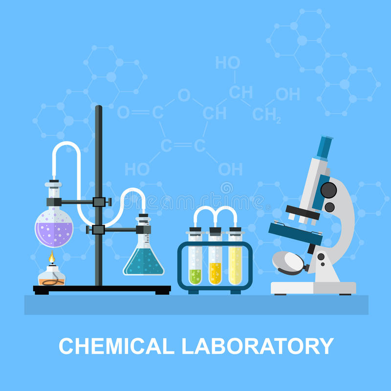 Chemical glassware, laboratory. Chemistry laboratory workspace and science equipment concept. The chemical background, banner, cover. Science, education stock illustration