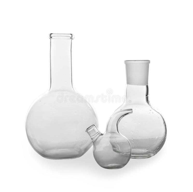 Chemical glassware on white background royalty free stock images